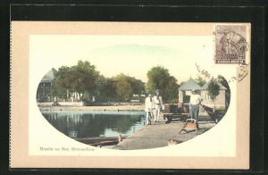 Präge-AK San Bernardino, Muelle, Partie an der Mole