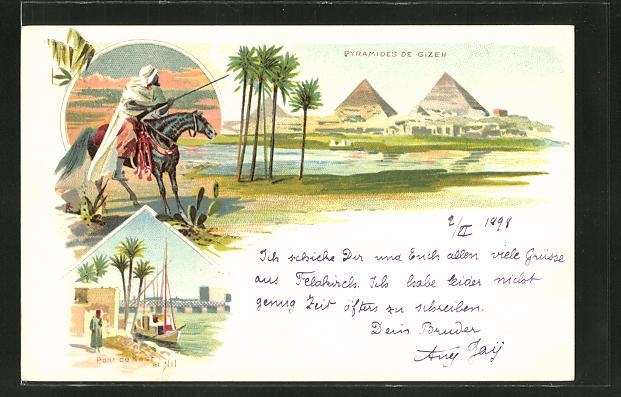 Lithographie Kairo, Pyramiden von Gizeh, Pont de Kasr