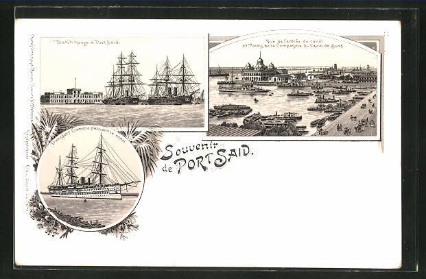 Lithographie Port Said, Entrée du Canal et Palais de la Compagnie du Canal de Suez