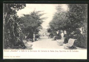 AK Santa Ana, Parque Menendez y Calle de la Parroquia del Calvario