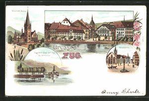 Lithographie Zug, Ortsansicht, Hauptplatz, Neue kath. Kirche