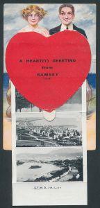 Leporello-AK Ramsey, Liebespaar und Herz, New Hotel on Top of Snaefell, Harbour