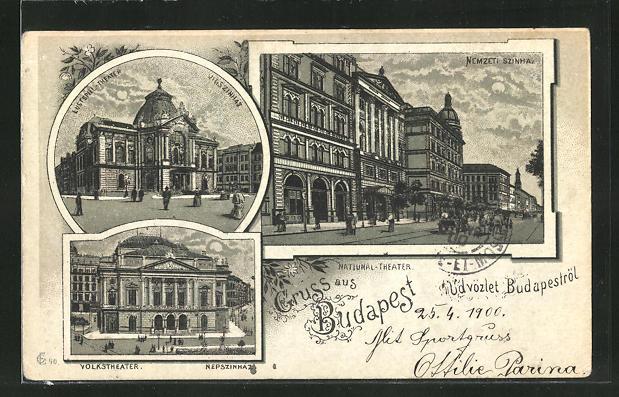 Mondschein-Lithographie Budapest, Natiunal-Theater, Volkstheater und Lustspiel-Theater