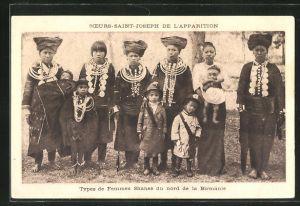 AK Birmanie, Sceurs Saint-Joseph de l'Apparition, Types de Femmes Shanes