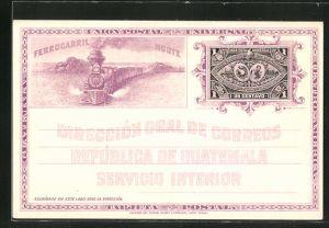 AK Guatemala, Direccion Gral de Correos, Eisenbahn und Wappen