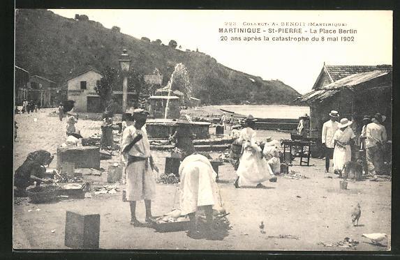 AK Saint-Pierre-la-Martinique, La Place Bertin après la catastrophe du 8 mai 1902