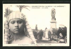 AK Le Caire, Jeune Egyptienne, Pont de Kasr-el-Nil