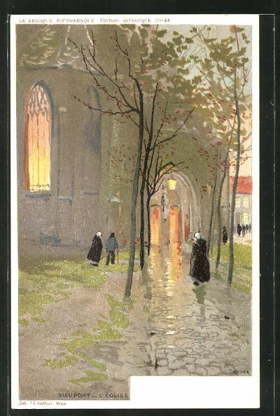 Künstler-AK Nieuport, L'Eglise