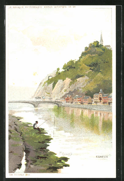 Künstler-AK Esneux, Ortsansicht mit Flussbrücke