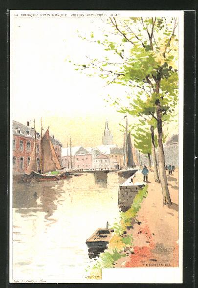 Künstler-AK Termonde, Ortspartie am Fluss