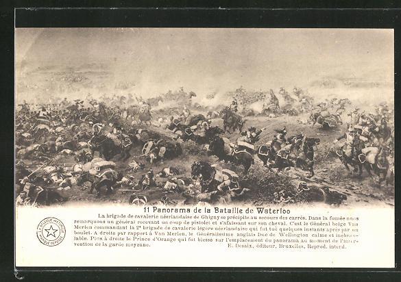 AK 11. Panorama der Schlacht von Waterloo, Befreiungskriege