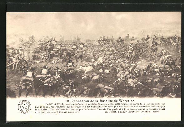 AK 10. Panorama der Schlacht von Waterloo, Befreiungskriege
