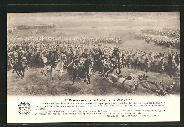 AK 6. Panorama der Schlacht von Waterloo, Befreiungskriege
