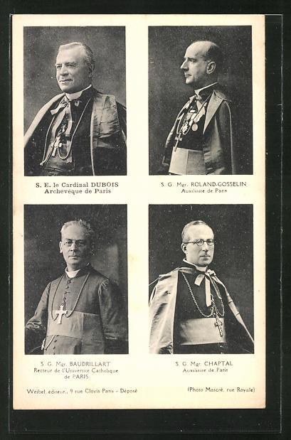 AK Cardinal Dubois, Roland Gosselin, Mgr. Baudrillart, Mgr. Chaptal