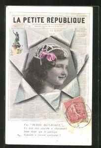 AK Zeitung La Petite Republique, Portrait eines Mädchen's