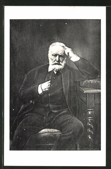 AK Victor Hugo an einem Tisch sitzend