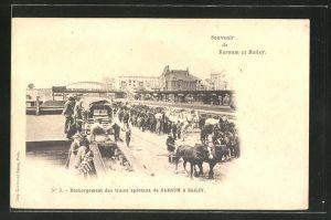 AK Zirkus Barnum et Bailey, Dechargement des trains speciaux