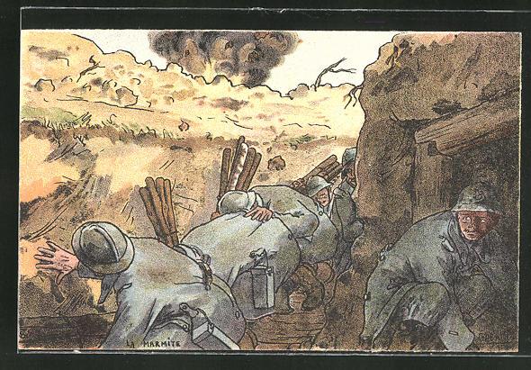 Künstler-AK sign. Gabard: Französische Soldaten im Grabenkrieg