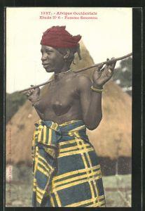 AK 1327 Afrique Occidentale Etude n° 6 Femme Soussou, afrikanische nackte Frau