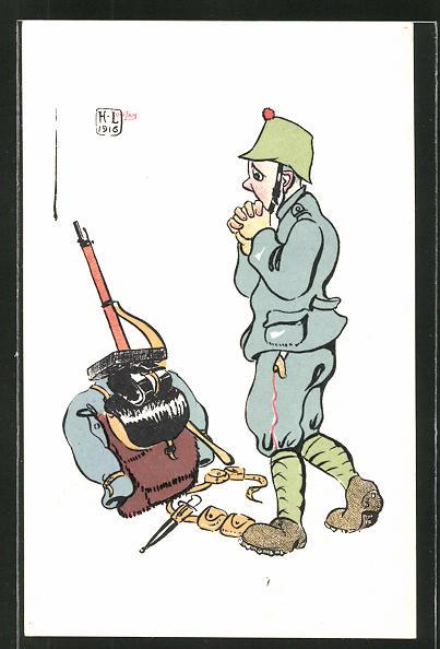 Künstler-AK sign. H. Lotan: schweizer Infanterist, Karikatur