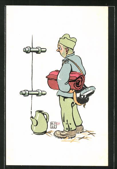 Künstler-AK sign. H. Lotan: schweizer Soldat, Karikatur