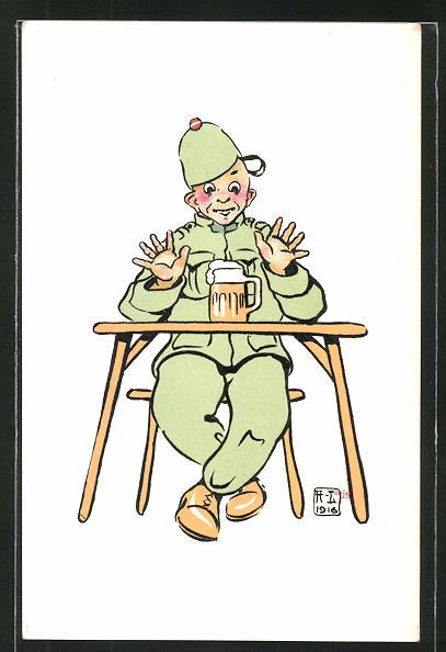 Künstler-AK sign. H. Lotan: schweizer Soldat mit Bier, Karikatur