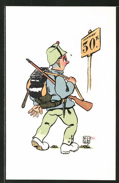 Künstler-AK sign. H. Lotan: schweizer Infanterist, Soldatenhumor