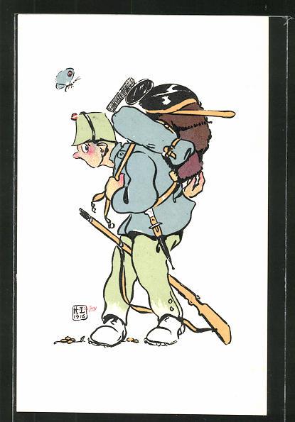 Künstler-AK sign. H. Lotan: schweizer Soldat mit Marschgepäck, Soldatenhumor