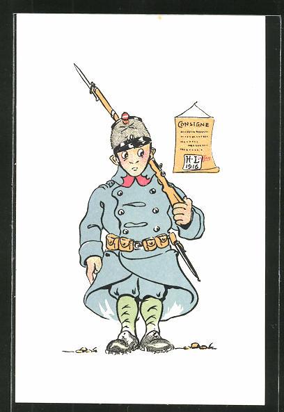 Künstler-AK sign. H. Lotan: schweizer Wachsoldat, Soldatenhumor