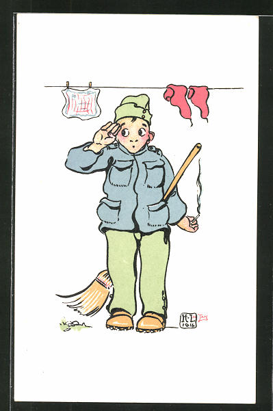 Künstler-AK sign. H. Lotan: schweizer Rekrut salutiert, Soldatenhumor