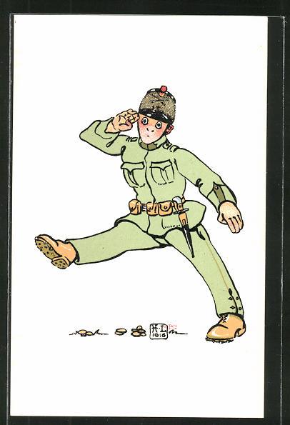 Künstler-AK sign. H. Lotan: komischer schweizer Soldat, Scherz