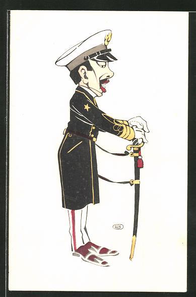 Künstler-Lithographie Karikatur eines japanischen Offiziers