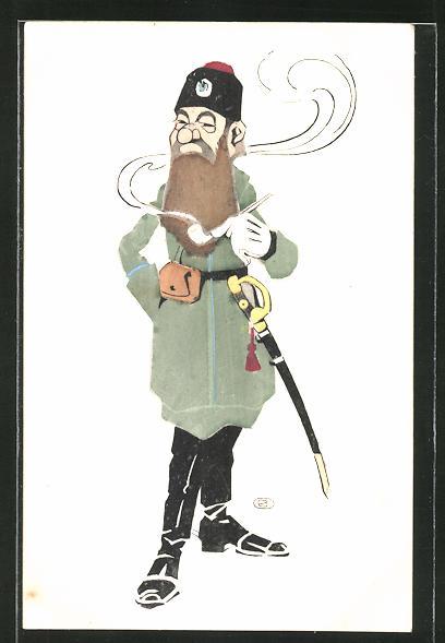 Künstler-Lithographie Karikatur eines russischen Soldaten