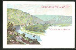 Künstler-Lithographie Chemins de Fer de l'Est, Vallée de la Meuse