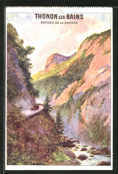 Künstler-AK Tourismus-Werbung für Thonon les Bains