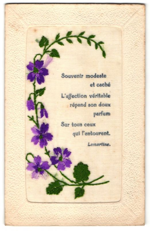 Seidenstick-AK Gruss mit violetten Blumen