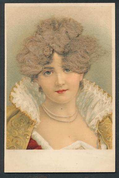 Echt-Haar-AK Schöne junge Frau mit echtem blondem Haar
