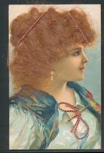 Echt-Haar-AK Schöne junge Frau mit echtem rotem Haar