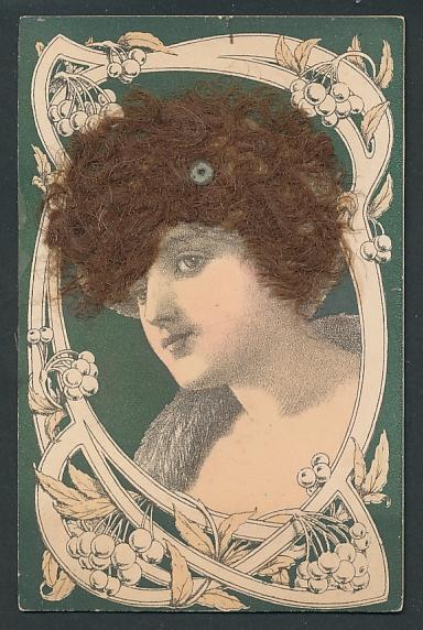 Echt-Haar-AK Dame mit krausem brünettem Haar