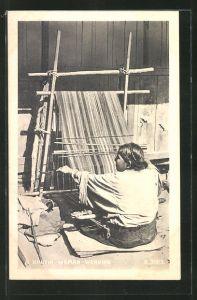 AK Bhutan, A Bhutia Woman Weaving, Weberin