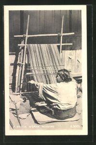 AK Bhutan, A Bhutia Woman Weaving, Weberin bei der Arbeit