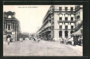 AK Colombo, Une Rue, Strassenpartie in der Stadt