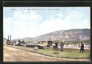 AK Damas, Vue du mont Salhieh prise de la gare de Hidjaz