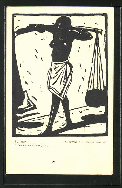 Künstler-AK Somalia, Portratrice d'Acqua, Wasserträgerin