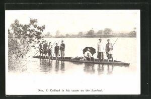AK Zambesi, Rev. F. Coillard in his canoe on the Zambesi, Mission