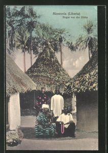 AK Monrovia, Afrikaner vor ihren Hütten