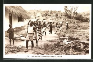 AK Liberia, Native Girls Carrying Water