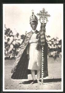 AK Eritrea, Prefe copto, Prinz mit Krone und Zepter