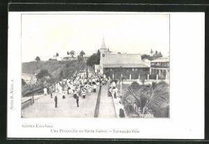 AK Santa Isabel / Fernando Póo, Una Procesion, Prozession bei der Kirche