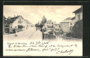 AK Porrentruy, Strassenpartie mit Geschäften und Wohnhäusern